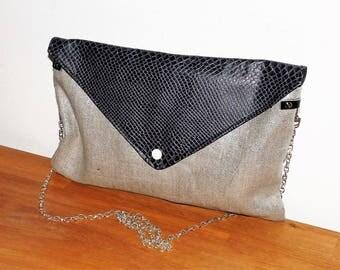 lin lamé silver/faux croco leather evening clutch or shoulder bag Navy