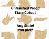 State Shape - 01585- Any State, Unfinished Wood  Laser Cutout, Door Hanger,Wreath Accent, Ready to Paint and Personalize, (larger)