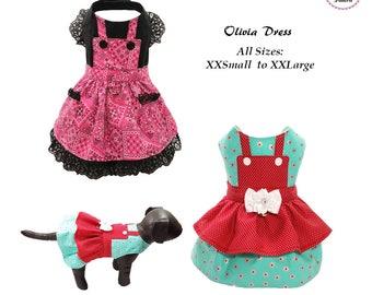 Olivia Dog Dress ALL SIZES-xxsmall to xxlarge, Dog Clothes Sewing Pattern PDF, Digital Dog Harness Sewing Pattern, Tutorial and Pattern