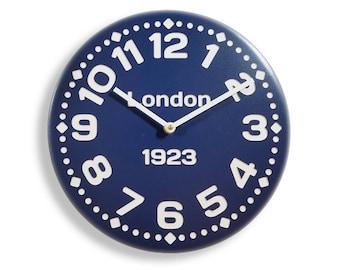 Wood wall clock. Contemporary clock. Personalized clock. Blue clock. 11 inch diameter wood wall clock. CL4020