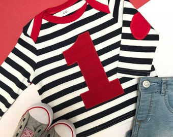 1st Birthday Outfit | Baby Boy First Birthday Outfit | 1st Birthday Boy Outfit | First Birthday boy | Navy Stripy LS Aplique 1
