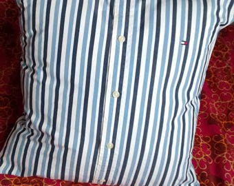 N1 Upcycled man's shirt pillow cover