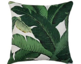 SALE Swaying Palm, All Sizes Green Pillow Cover, Indoor/Outdoor, Green and White Pillow Cover, Double Sided Designer pillow, Zipper Cushion