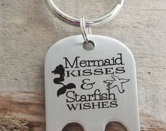 Mermaid Kisses and Starfish Wishes Opener Personalized Engraved Key Chain