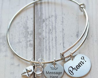 Prom? Personalized Adjustable Wire Bangle Bracelet