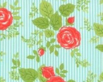 Happy Go Lucky Aqua Floral Stripe by Bonnie & Camille for Moda Fat Quarter/Yardage OOP HTF