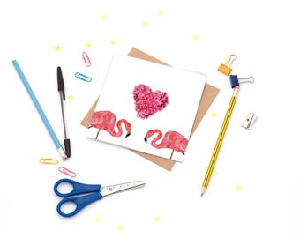Flamingo Greeting Card - perfect for anniversaries, valentines and weddings
