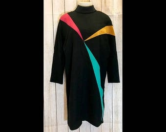 Vintage 80s Lilli Ann Wool Dress with Colorful Faux Suede Inserts