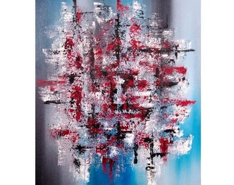 "Office art Dorm wall art Abstract oil painting Blue art Abstract canvas art Palette knife art Blue abstract art Abstract art canvas 20x24"""