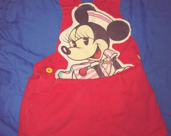 2t vintage Minnie Mouse short overalls