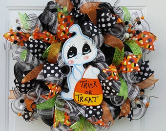 Halloween Wreath, Halloween Deco Mesh Wreath, Halloween Decor, Ghost Wreath, Ghost Decor, Candy Corn Wreath, Trick or Treat Wreath