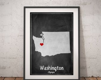 Washington State, Washington Map Print, Washington Gift, Washington Wall Art, Chalkboard Art, USA Map Print