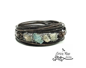 Genuine raw rough aquamarine gemstone and crushed pyrite leather wrap boho bracelet