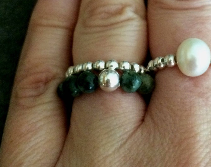 GREEN TURQUOISE STRETCH ring Sterling Silver - December Birthstone jewellery gift