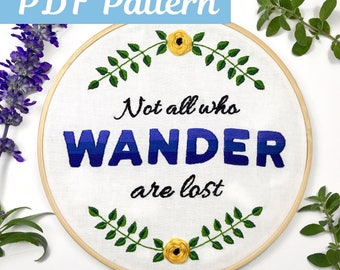 Floral Embroidery Pattern, Hand Embroidery Pattern, Embroidery Hoop Art, Hand Embroidery PDF, Embroidery Design, Hoop Art Pattern