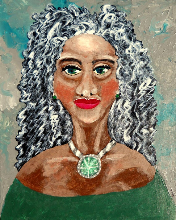 "Acrylic Painting 20 x 16"" Canvas (framed), LADY CHATOYANT, Ethnic Folk Art, portrait of black woman by African American Artist Stacey Torres"