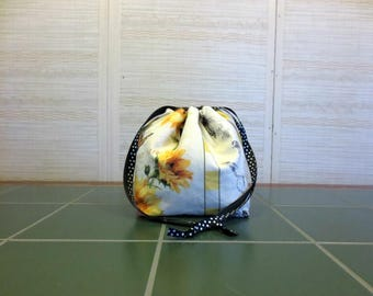 Sunflowers - Small Drawstring, Divided Knitting Project Bag, Crochet Bag, Sock Project Bag, Knitting Organizer, Bees
