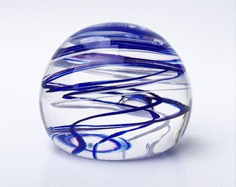 SALE! Glass Art One of a Kind Blue & White Striped Glass Blown Paperweight