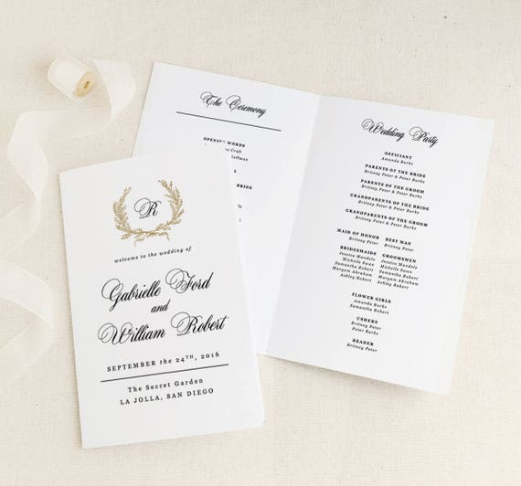 Classic Wedding Programs Template Printable Wedding Folded