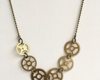 Sturdy bronze steampunk necklace with gears from old clocks-timepieces