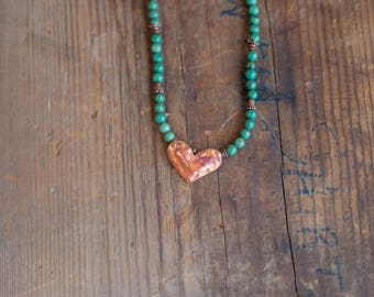Copper Heart & Turquoise Necklace