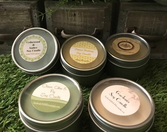 Soy wax candle tins in 8 scents