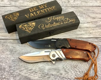 Cool Valentineu0027s Day Gifts For Men, Custom Ballistic Pocket Knife With  Wooden Gift Box,