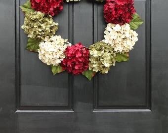 Christmas Wreath, Holiday Wreath, Christmas Front Door Wreath, Holiday Door Wreath for Christmas, Hydrangea Wreath, Christmas Door Decor