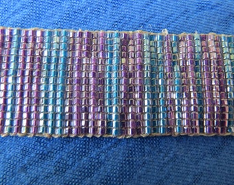 Purple and blue beaded loomed seed bead bracelet