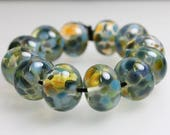 Blue Green Beads, Blue Green Frit Beads, Green Lampwork Beads,  Ocean Beads, Blue Green Lampwork Beads, Kathys Bead Shop, Artisan Lampwork