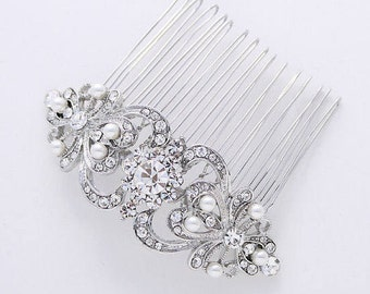 Hair Comb Crystal Pearl Bridal Hair Piece Vintage Style Wedding Jewelry Rhinestone Silver Hair Combs Gatsby Old Hollywood Headpiece