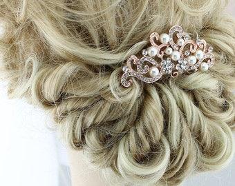 Rose Gold Bridal Hair Accessory, Rose Gold Hair Pin, Rose Gold Hair Comb, Rhinestone Pearl Rose Gold Hair Comb, Rose Gold Veil Hair Jewelry