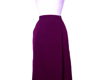 Vintage Pencil Skirt Wrap Style Christian Dior Separates Deep Orchid Color Designer Fashion 100% Pure Wool - Size 14 L