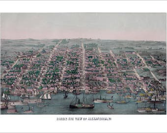 """Alexandria Virginia in 1863 Panoramic Bird's Eye View Map by Charles Magnus 22x15"""" Reproduction"""
