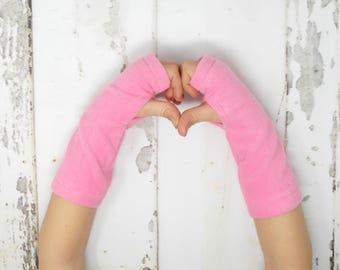 Pink Fleece Toddler/Child Arm Warmers, Pink Kids Fingerless Gloves, Pink Kids Arm Warmers, Biking Glove, Texting Gloves, Fingerless Mitts