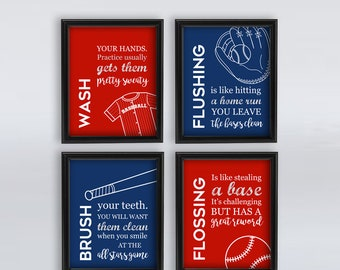 Kids Bathroom Wall Art Baseball