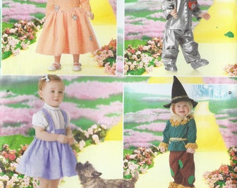 Dorothy, Tin man, Scarecrow and Good witch costumes pattern in Baby and Toddler sizes 1/2-4 Simplicity 4024 UNCUT & FF (2006) K0964
