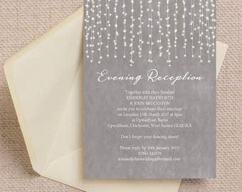Personalised Dove Grey Fairy Lights Evening Wedding Reception Invitation with envelope
