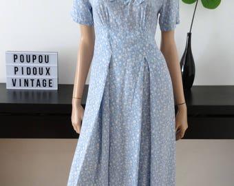 Robe bleue/petites fleurs blanches HAMPTON DRESS Co taille 38 - uk 10 - us 6