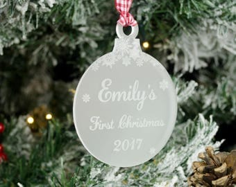 Baby's First Christmas Bauble. Personalised Frosted Xmas Tree Decoration.  Laser Engraved Snowflakes. Newborn Baby Birth Gift.