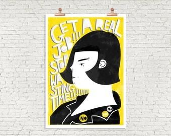 Get a Real Job! Illustration Art Print / Punk Rock Art Print / Bright Yellow & Black Illustration / Portrait Art Print / Fun Graduation Gift