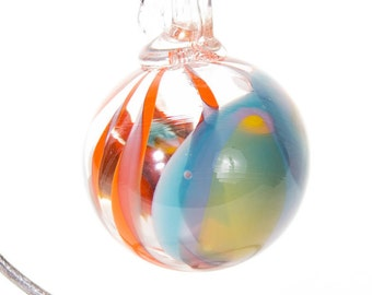 601034 Medium Hand Blown Hanging Art Glass Ball Decorative Ornament
