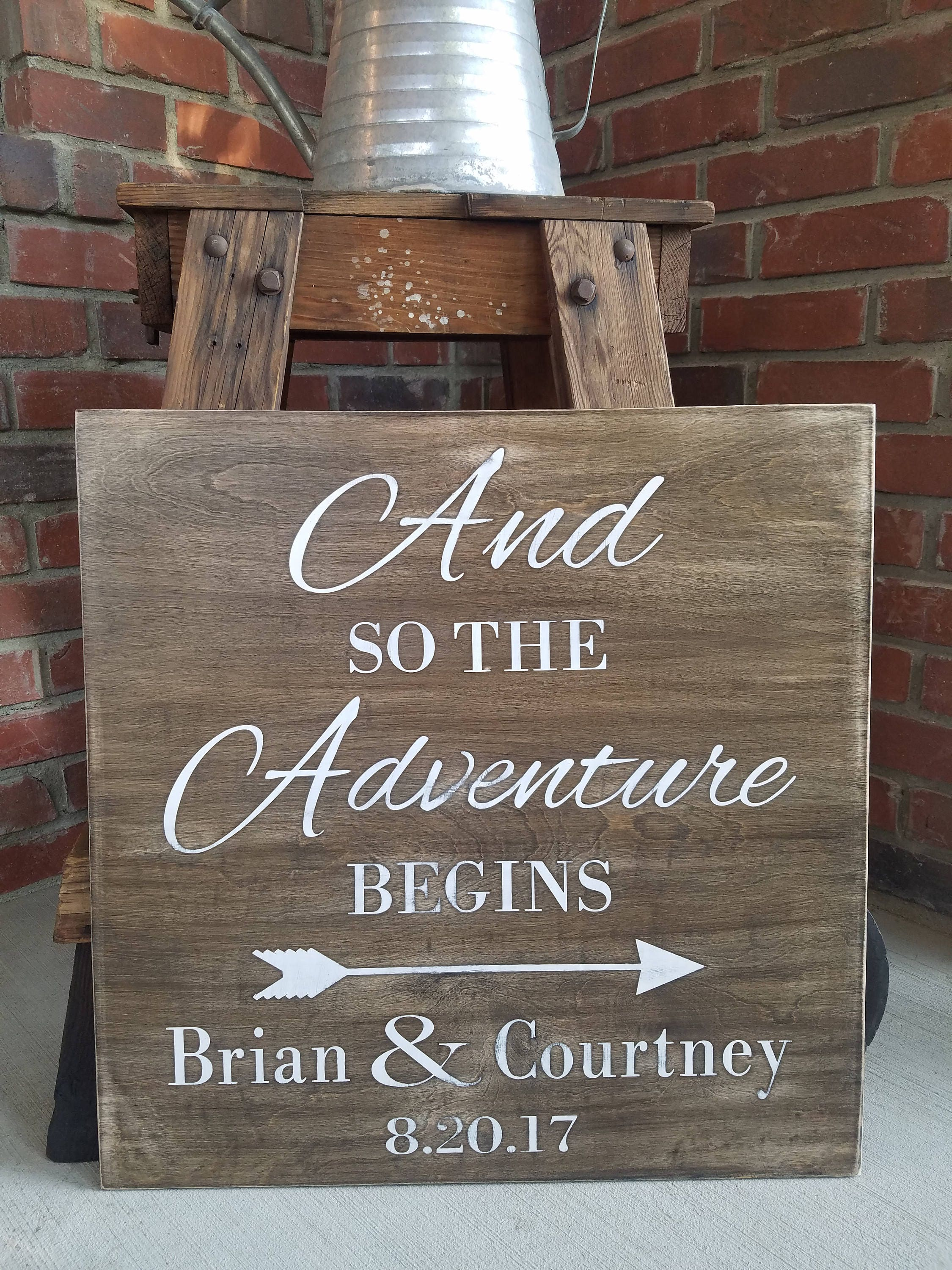 Rustic Wedding Signs.And So The Adventure Begins Wood Sign Rustic Wood Sign Custom