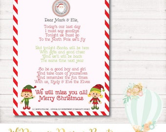 Elf Goodbye Letter, Christmas, Santa, Elf Goodbye Letter - 8.5x11 - PRINTABLE Customized
