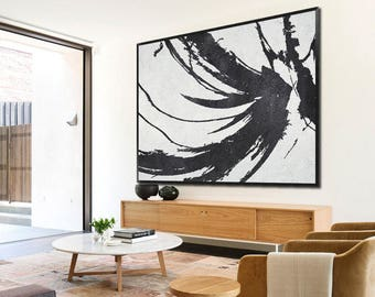 Large oil painting-Hand painted modern abstract oil painting on canvas-Line shape-Home decor for family