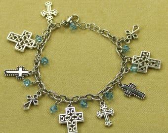 Easter Silver Tone Cross and Swarovski Crystal Charm Bracelet