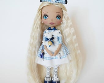 Alice in wonderland Personalized Dolls Alice Ragdoll Textile dolls Cloth dolls Interior dolls Art dolls Birthday Gifts for daughter Soft toy