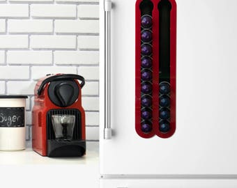 Red Black Nespresso Coffee Capsules Holder, 20 Coffee Pod Storage, Magnetic Wall Mount, Coffee Pod holder, Coffee Lover Gift, Kitchen Decor