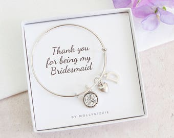 Personalised Bridesmaid Gift, Bridesmaid Jewellery, Charm Bracelet, Silver Bangle, Wedding Favour, Thank You Gift For Bridesmaid