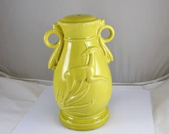 Pottery Gazelle Lamp Base - Chartreuse Yellow - Haeger Pottery Handled Urn Shape - Leaping Gazelle Relief -  Vintage Art Deco